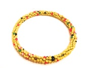 Handmade natural yellow bead bangle, gifts for her, yellow beads, handmade bracelet