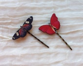 2 Butterfly Hair Grips. Butterflies Bobby Pins. Vintage Style Hair Slides. Red and Black Butterflies.  Nature Lover