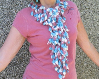 Crochet scarf.  Funky and unique. Luxury yarn. OOAK. Own design.