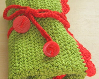 Holder for crochet hooks. Crochet hook holder. Roll up hook holder. Lovely gift. Hand crocheted. Own design.