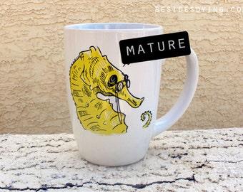 Sea Creatures Dirty Dishes mug-- sea horse-- mature