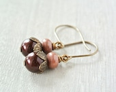 Brown Pearl Earrings with Rhodonite and Brass Ear Hooks. Pink and Brown Fall Jewlery - happylittlegems