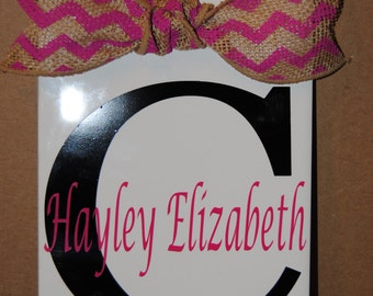 Personalized Monogrammed Initial Tile with Burlap Bow Great Birthday Graduation Wedding Baby gift