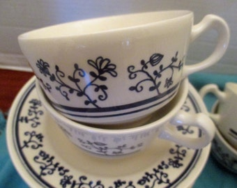 Homer Laughlin China Brittany Blue Sturbridge - Set of 4 footed cups & saucers (2 sets available)