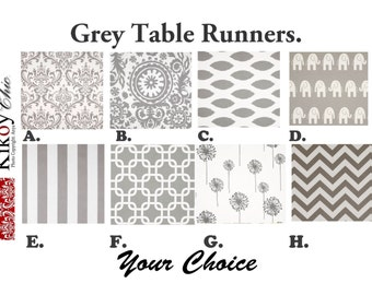 "Grey Table Runner- Gray  Table Runner.Grey Table Cloth. Grey Placemat.48"", 60"",72"",84"",96"" Runner or 12 x 18""Placemat."