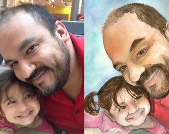 Custom watercolor portrait - Made to order by Heather Torres, 8x10 or larger