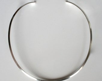 "Well-Designed 3 mm. Wide Sterling Silver ""C"" Curve Collar Choker Neckwire Necklace, Handmade Choker/ Collar Necklace."