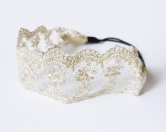SALE 50% OFF Lace Organza Headband Wedding Headpiece Bridal Hair Accessories