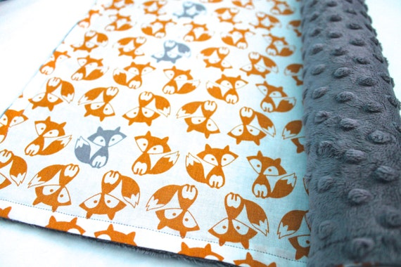Fox Baby Blanket-Minky Dot Baby Blanket-Baby Boy-Toddler Blanket