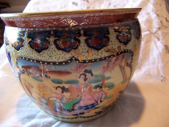 Oriental koi bowl satsuma arita japan 1950 large beautiful for Koi viewing bowl