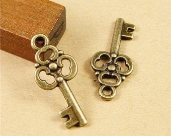 30pcs 10x23mm Antique Bronze Lovely Filigree Flower Key Charm Pendant Jewelry Supplies A1344-7A