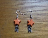 dangle earrings - orange stars with love charms, Valentines, ecofriendly drop earrings
