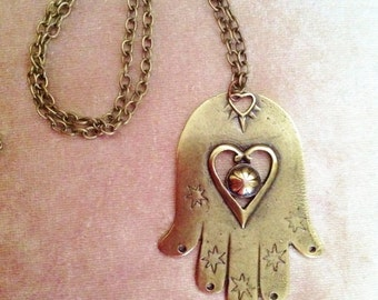 Big Size Hamsa Hand Necklace,Antique Brass Necklace,Boho jewelry,Long Necklace,Protection pendant,Sacred symbol,Bohomian Style Jewelry,Hand