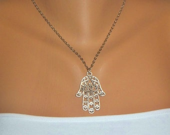 Hamsa Hand Necklace, Antique Silver Necklace, Bohomian Style jewelry, Protection pendant, Sacred symbol, amulet necklace, Christmas Gifts