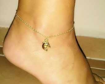 Gold Plated Dolphin Anklet, Dolphin Charm Bracelet, Ankle Bracelet, Dolphin Jewelry, Beach Jewellery, Gift for Kids, Gift for Her, Children