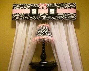 Zebra Cornice Upholstered Bed Canopy Framed Initals Light Pink Ribbon Custom Zebra Lamp Light Pink Fringe Beads Dorm Room Custom Cornice