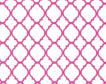 Changing Pad Cover in hot pink and white quatrefoil-30% off regular price