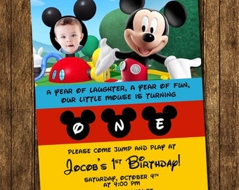 Mickey Mouse Clubhouse Baby ONE First Birthday Party Photo Invitations - Printable