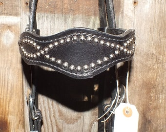 Horse headstall black leather, lined with nickel spots