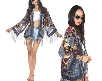 Silk Burnout Velvet Beaded Fringe Gray Hippie Boho Gypsy Festival Kimono Jacket