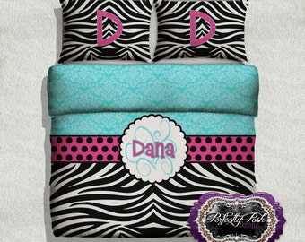 Damask and Zebra Animal Print Bedding Custom Design and Personalized Comforter or Duvet with Monogram