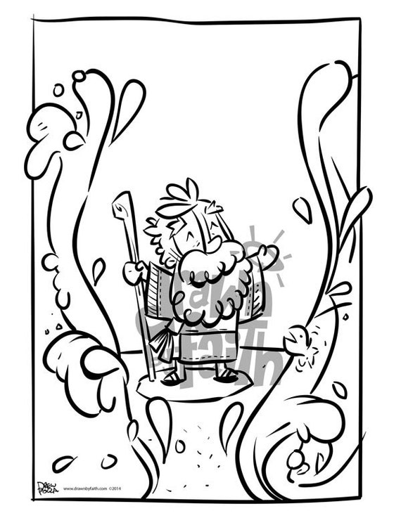 Items similar to moses parting the sea coloring page on etsy for Moses parting the red sea coloring page
