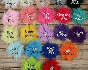 """Tulle Flowers with Pearl and Rhinestone Center - 2.5"""" - YOU Pick - Pink, White, Yellow, Royal Blue"""