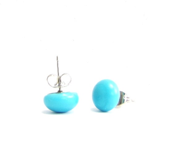 Earrings studs . Turquoise fused glass earrings Studs