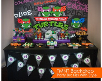Teenage Mutant Ninja Turtle - TMNT - Backdrop - Size 6ft x 3ft (72in x 36in)  //  INSTANT DOWNLOAD