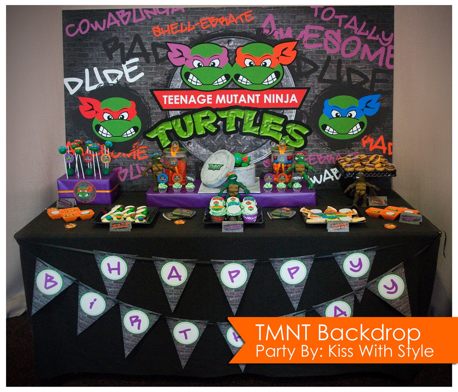 Teenage Mutant Ninja Turtle TMNT Backdrop Size 6ft x 3ft