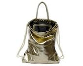 GOLD leather backpack - purse - laptop tote bag - messenger bag - office bag - black leather bag - drawstring bag - women's backpack bag