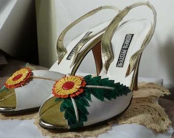 Vintage Andrea Pfister Flower Applique Slingback Heels 7 M Garden Party Wedding Perfect
