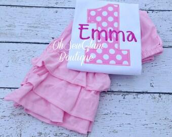 Girls Birthday Ruffle Pant Outfit - Birthday Embroidered Shirt - Pink Ruffle Pants - Girls Birthday Outfit -