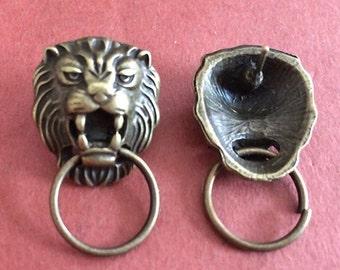 12pieces 20mmx22mm bronze Lion earring studs