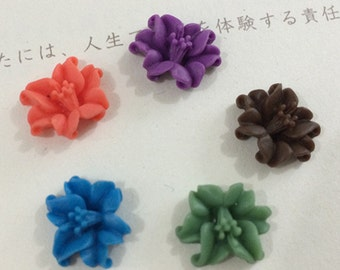 20pcs 11x14mm Mixed color resin flower