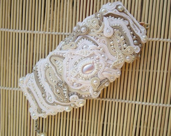 SALE Bridal, handmade soutache bracelet. Vegan friendly.