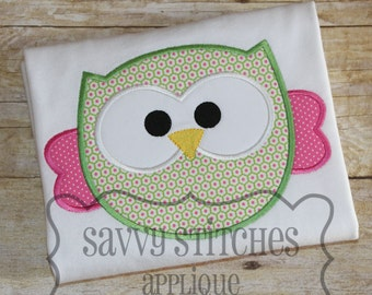 Round Owl Machine Embroidery Applique Design