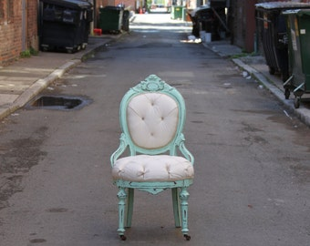 Tufted Distressed Seafoam Victorian Chair