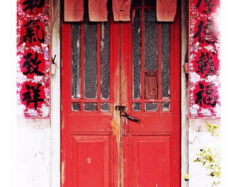 Architecture Art,Shophouse Art,Urban Photography,Asian Architecture,Old Houses, Red door Photography,Chinatown Street Scene