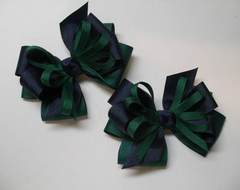 Hair Bows Pig Tail Pair SPRUCE Hunter Dark Green Navy Blue School UNIFORM Toddler Girl Grosgrain set of 2