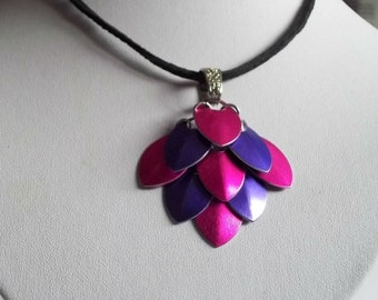 Pink & Purple Scale Maille Pendant on a suede necklace