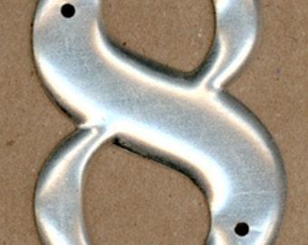Vintage Metal Number, Number 8, Letterpress Style Telephone Pole Numbers, 2 inch, Aluminum Numbers 1, Silvertone, Brushed Metal