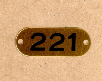 Number 221 - 1 Aluminum Metal Number Tags School Locker Plates for Altered Art in Brass