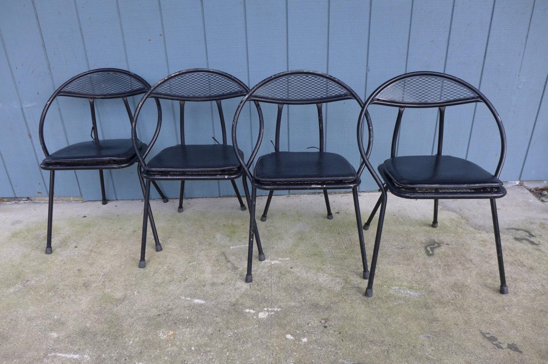 Set Of 4 Folding Patio Chairs Salterini Style By Zeejunkhunter