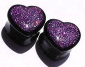 """Lavender Holo Sparkle Heart Plugs - 2g,0g,00g,7/16,1/2,9/16,5/8,11/16,3/4,7/8,1"""""""