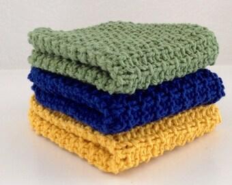 Hand Knit Cotton Dish Cloths Set of 3 Navy Green Yellow