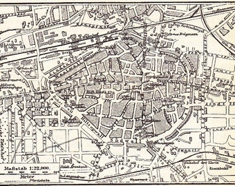 1895 City of Dortmund, Coal and Steel Centre of Prussia at the end of the 19th Century Original Antique Map Print
