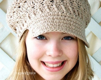 Crochet Hat Pattern Womens Newsboy Hat Slouchy Hat Slouch Beanie  PDF 160 12 Month to Adult Instant Download