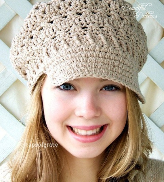 Crochet Pattern Womens Hat : Crochet Hat Pattern Womens Newsboy Hat Slouchy Hat Slouch