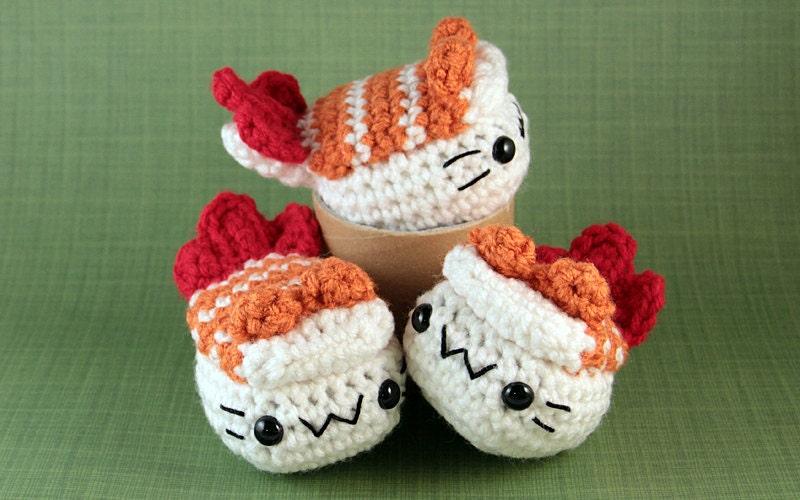 Amigurumi Sushi Cat : Ebi Shrimp Nigiri Cat Sushi Inspired Amigurumi by PocketSushi